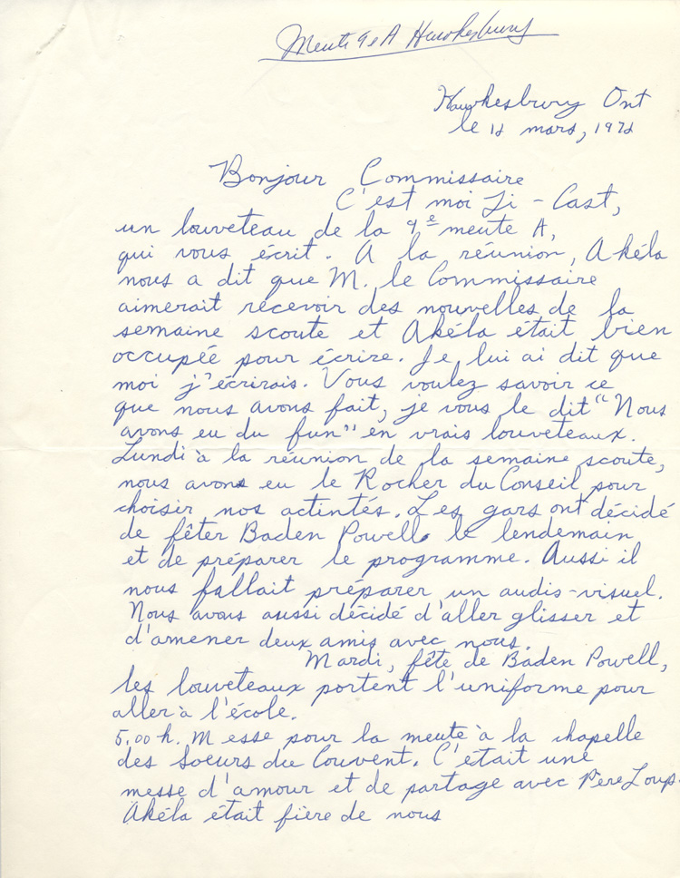 lettre manuscrite Lettre manuscrite de Bertrand Castonguay, louveteau lettre manuscrite